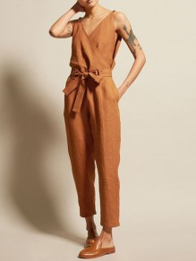Camel Pockets Sashes Bow High Waisted Fashion Long Jumpsuit