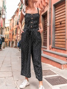Black Polka Dot Buttons Pockets Sashes High Waisted Long Jumpsuit