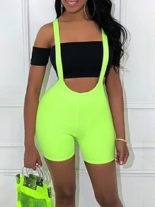 Neon Green Shoulder-Strap Push Up Bodysuit Clubwear Overall Jumpsuits