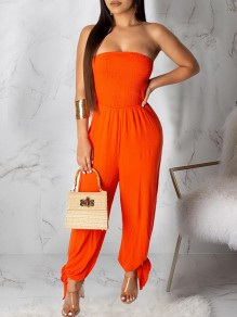 Orange Bandeau Wide Leg Lace-up Long Casual Jumpsuits