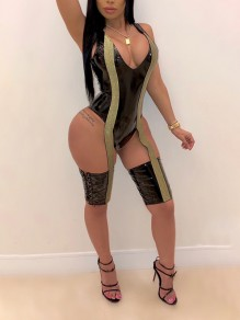 Black PU Leather Vinyl Cut Out Patchwork Shimmer Bright Wire V-neck Sleeveless Vest Clubwear Short Jumpsuits