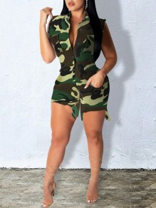 Green Camouflage Pockets Buttons Turndown Collar V-neck Sleeveless Ripped Destroyed Casual Short Jumpsuit