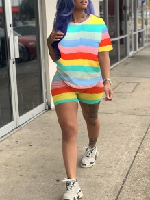 Yellow Rainbow Striped Print Round Neck Short Sleeve 2-in-1 Casual Sports Short Jumpsuit