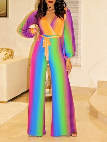 Rainbow Striped Tie Dye Gradient Color Belt Lace-up V-neck Lantern Sleeve Flare Bell Bottom Casual Long Jumpsuit