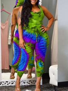 Green-Blue Gradient color Bleach Band Print Hooded Sleeveless Backless Long Jumpsuit