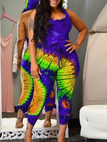 Purple-Green Gradient color Bleach Band Print Hooded Sleeveless Backless Long Jumpsuit