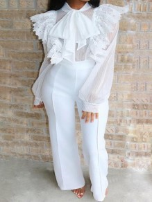 White Bow Patchwork Ruffle Lace Cut Out Lantern Sleeve High Waisted Flare Long Work Formal Jumpsuit