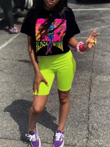 """Neon Green """"BLACK WIDOW""""Letter And Pattern Print T-Shirt 2-in-1 Short Sports Legging Casual Short Jumpsuit"""