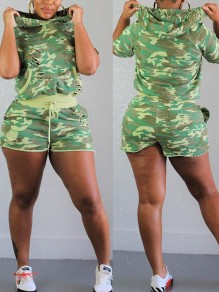Green Camouflage Drawstring Pockets Two Piece Ripped Distressed Sports Casual Hooded Short Jumpsuit
