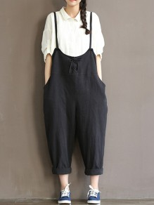 Black Pockets Drawstring Mid-rise Oversize Overall Pants Long Jumpsuit