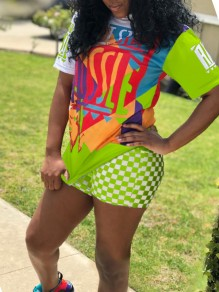 "Neon Green ""HUSSLE"" Print Round Neck Short Sleeve 2-in-1 High Waisted Plaid Sports Caaual Short Jumpsuit"