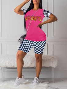 "Pink Flame Letter ""VIBES"" Print Round Neck Plaid Short Sleeve Two Piece Plaid Short Casual Jumpsuit"