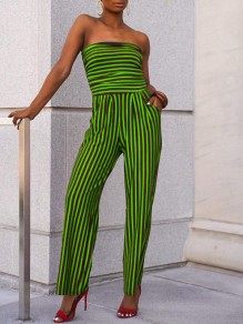 Neon Green-Black Striped Bandeau Pockets wide Leg Casual Long Jumpsuit