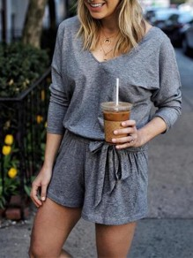 Grey Drawstring Bodycon Comfy V-neck Lace-up Going out Jumpsuit