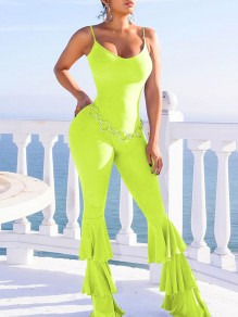 Neon Green Patchwork Shoulder-Strap V-neck Sleeveless Pleated Layers Of Flare Bottom Long Jumpsuit