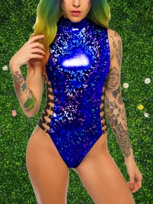 Sapphire Blue Zipper Cut Out High Neck Sleeveless One-Piece Festival Feast Rave Unicorn Reflective Short Jumpsuit