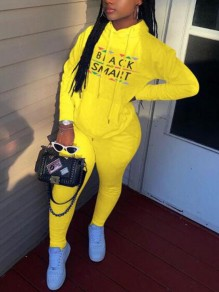 Yellow Monogram Pattern Black Smart Pockets Hooded Two Piece Casual Long Jumpsuit