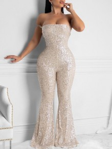 Champagne Patchwork Sequin Off Shoulder Bodycon Sparkly Glitter Birthday Party Bell Bottomed Flares Long Jumpsuit