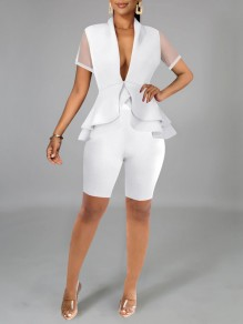 White Patchwork Grenadine Cascading Ruffle Pleated Peplum Two Piece V-neck Party Short Jumpsuit