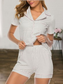 White Polka Dot Single Breasted Short Sleeve Shorts Pajamas Sets Jumpsuit Sleepwear
