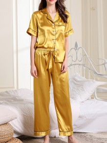 Yellow Pockets Single Breasted Sashes Two Piece Fashion Long Jumpsuit
