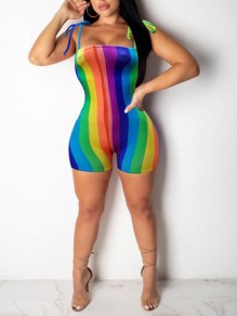 Green Rainbow Striped Pattern Spaghetti Strap One Piece Short Jumpsuit