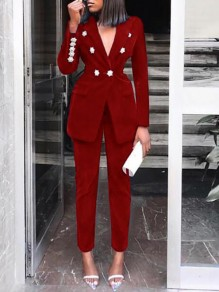 Red Double Breasted Turndown Collar Two Piece Elegant Party Suits Long Jumpsuit