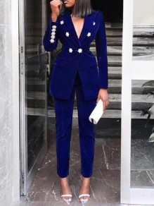 Royal Blue Double Breasted Turndown Collar Two Piece Elegant Party Suits Long Jumpsuit