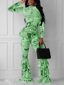 Green-Black Monogram Newspapers Pattern Cascading Ruffle One Piece Elegant Party Long Jumpsuit