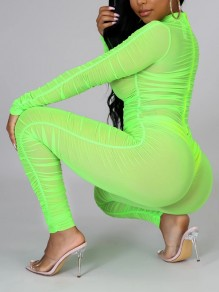 Neon Green Grenadine Band Collar Long Sleeve Ruched Bodysuit Sheer Long Jumpsuit