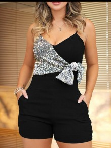 Black Patchwork Sequin Spaghetti Strap Pockets Sparkly Glitter Birthday Party Short Jumpsuit