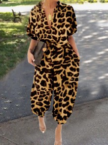 Brown Leopard Pattern Drawstring Pockets Single Breasted One Piece Cargo Long Jumpsuit