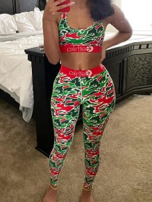 Red Camouflage Two Piece Bodycon Casual Sports High Waisted Long Jumpsuit