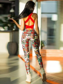 Red Floral Pattern Cross Back One Piece Yoga Sports Long Jumpsuit