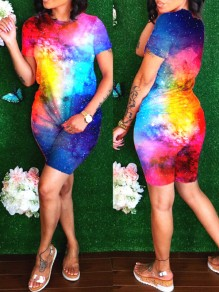 Blue Tie Dye Starry Sky Print Round Neck Short Sleeve Two Piece Casual Short Jumpsuit