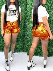 """Orange """"FUCK OFF"""" Print Camouflage Two Piece High Waisted Casual Short Jumpsuit"""