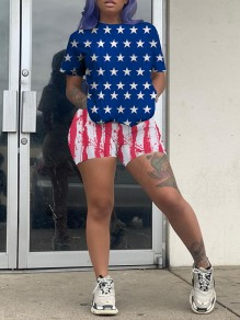 Blue-Red American Flag Print Round Neck Short Sleeve Two Piece Independence Day Short Jumpsuit