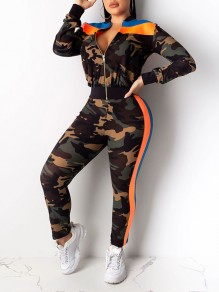 Orange Camouflage Print Zipper Long Sleeve High Waisted Two Piece Sports Long Jumpsuit