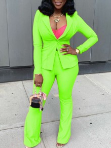 Neon Green Buttons Tailored Collar Long Sleeve Two Piece High Waisted Blazer Suits Long Jumpsuit