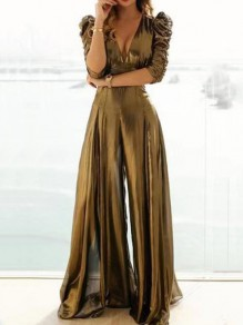 Golden Cut Out V-neck Long Sleeve High Waisted Elegant Long Jumpsuit