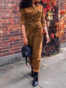Khaki Pockets Belt Single Breasted Turndown Collar Long Sleeve Corduroy Casual Long Jumpsuit