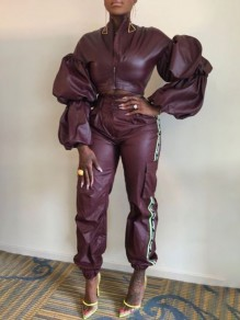 Purple Patchwork Pockets Zipper High Neck Puff Long Sleeve PU Leather Two Piece Cargo Long Jumpsuit
