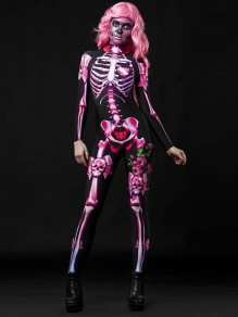 Pink Skeleton Print Band Collar Long Sleeve Bodysuit Halloween Long Jumpsuit