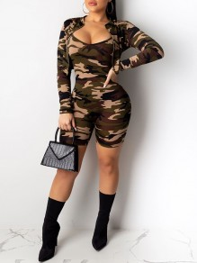 Green Camouflage Print Zipper V-neck Long Sleeve Two Piece Casual Short Jumpsuit