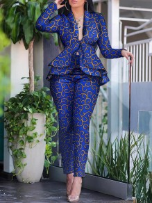 Dark Blue Floral Print Tailored Collar Ruffle Blazer Two Piece Work Long Jumpsuit