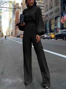 Black Cut Out Backless High Neck Lantern Sleeve Long Jumpsuit