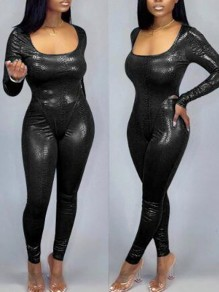 Black Snake Skin Pattern Square Neck Two Piece Latex Vinly Long Jumpsuit
