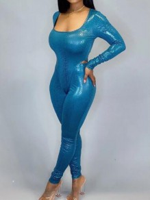 Blue Snake Skin Pattern Square Neck Two Piece Latex Vinly Long Jumpsuit