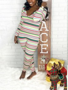 Green Colorful Striped Print V-neck Long Sleeve Christmas Santa Pajama Long Jumpsuit