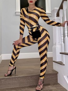 Yellow Patchwork Grenadine Round Neck Long Sleeve Sheer Bodysuit Clubwear Long Jumpsuit